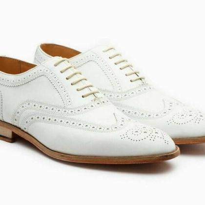Men's Handmade White Oxford Full Br..