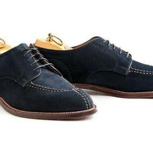 Men's Handmade Navy blue Suede derb..