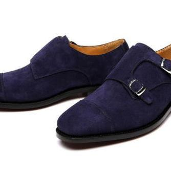 Men's Handmade Double Monk Suede Le..