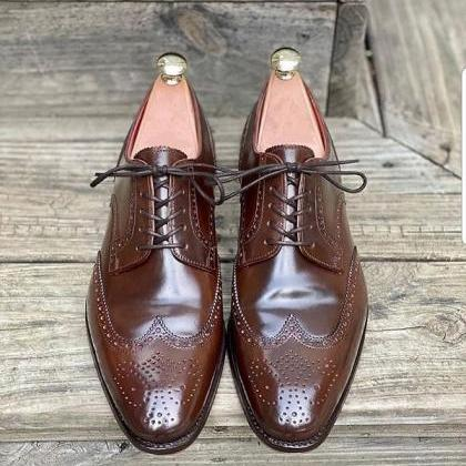 Handmade Men Ox Blood Brogue Oxford..