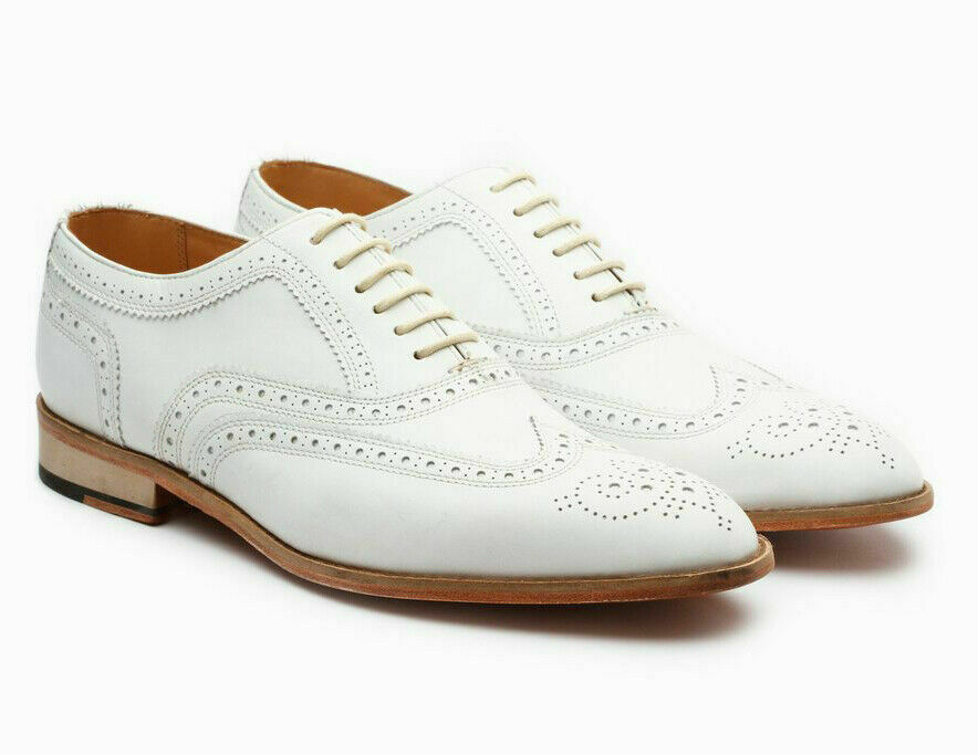 Men's Handmade White Oxford Full Brogue Toe Wing Tip Spectator Leather Lace up Shoes