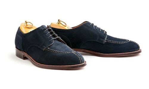Men's Handmade Navy blue Suede derby shoes, Men fashion designer formal shoes