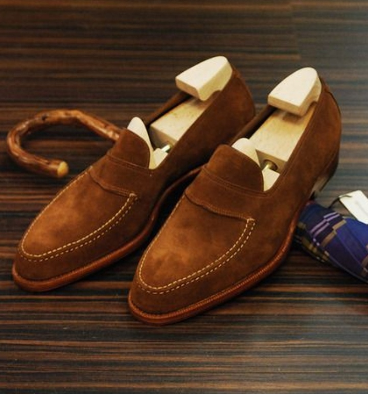 Men Handmade Brown Suede Loafer Moccasins, Men Stylish Shoes