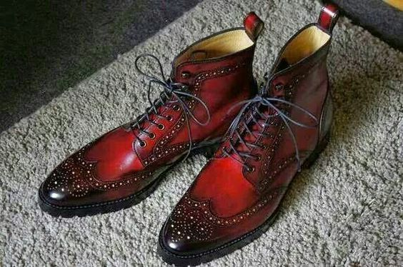 Handmade Men Wing Tip Burnished Brogues Toe Red Color Lace Up High Ankle Men Boots
