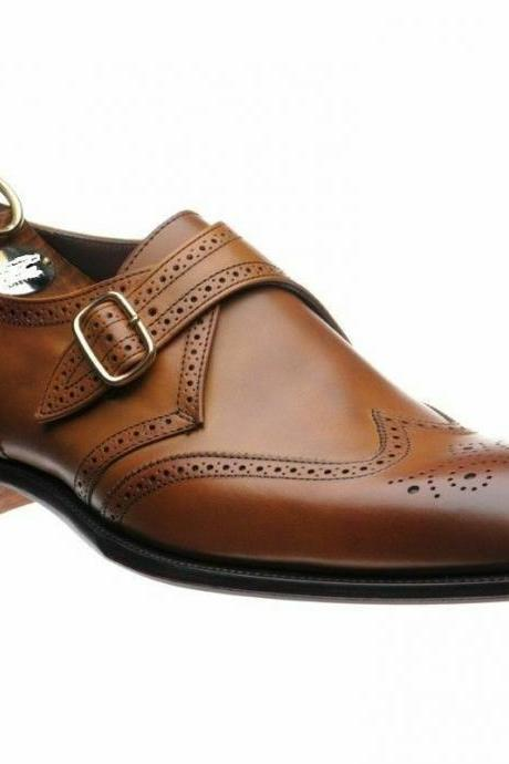 Men's Handmade Formal Shoes Brown Leather, Oxford Brogue Monk Strap Wingtip Boots