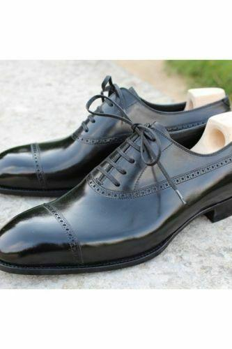 Men's Handmade Formal Shoes Black Brogue Real Leather, Men Casual Wear Dress Boots New