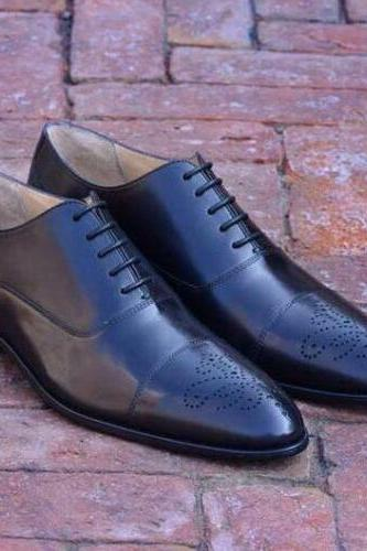 Men's Handmade Black Oxfords Formal Italian Calf Leather, Men's Brogue Shoes