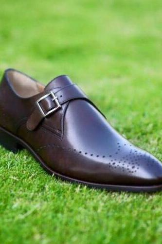 Men's Handmade Monk Strap Dress Shoes, Men Brown Formal Brogue Luxury Calf Leather Shoe