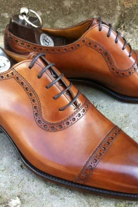 Men's Handmade Tan Oxford Brogue Lace Up Toe Cap, Men Formal Dress Shoes