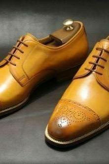 Men's Handmade Genuine Tan Leather, Men Oxford Brogue Toe Cap Lace Up Shoes