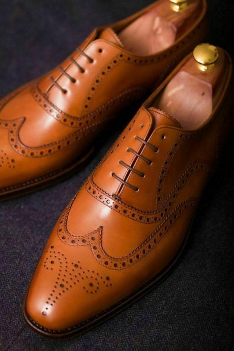 Men's Handmade Genuine Tan Leather Oxford Brogue Wingtip Wedding Formal Shoes