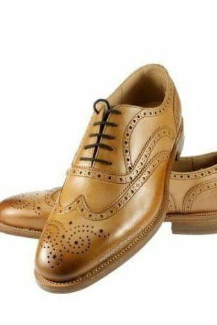 Men's Handmade Oxford Tan Full Brogue Burnished Toe Wing Tip, Men Genuine Leather Formal Shoes