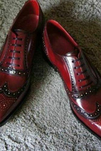 Men's Handmade Oxford Burgundy Wing Tip Full Brogue Toe Genuine Leather Shoes
