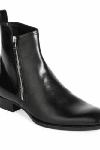 Men's Handmade black Chelsea leather boots, Men fashion side zipper boot