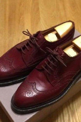 Men's Handmade Burgundy wingtip brogue formal shoes, Men dress leather shoes
