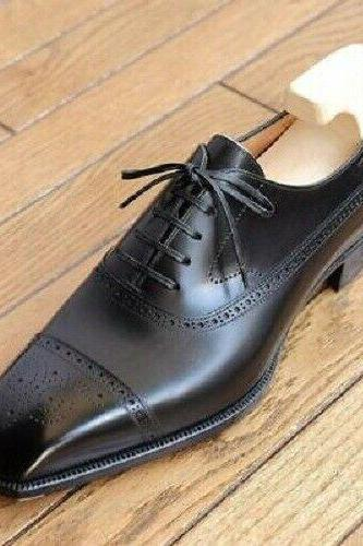 Men's Handmade Black Leather Dress Shoes, Men brogue Leather Shoes
