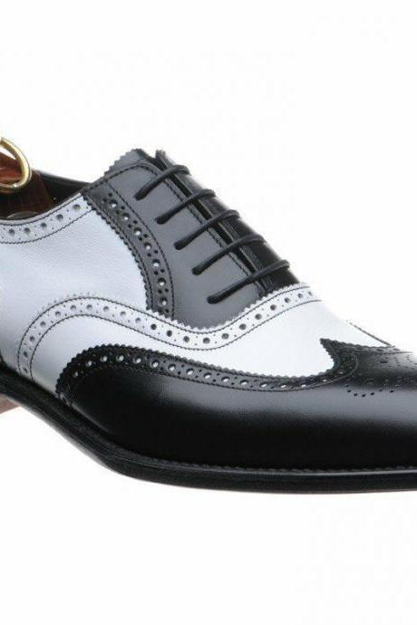 Men's Handmade Formal Shoes, Men Black Wing Tip Two Tone Spectator Shoes, Men brogue shoes