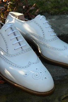 Men's Handmade White Wingtip Brogue Shoes, Men Brogue Formal Shoes Men dress Shoes