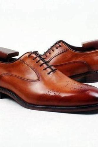 Men's Handmade Men Oxford brogue Shoes, Men brown formal shoes, Men leather shoes