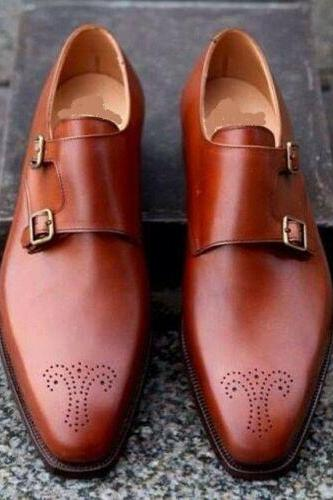 Men's Handmade Men Tan color Brogue formal Shoes, Men Dress monk shoes, Men shoes