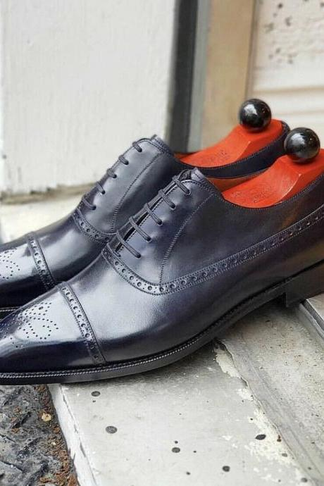 Men's Pure Handmade Black Leather Lace up Brogue Dress Shoes, Men Shoes