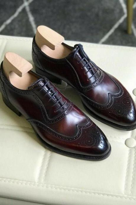 Men's Handmade Burgundy Shaded Leather Lace up Brogue Shoes, Men Shoes