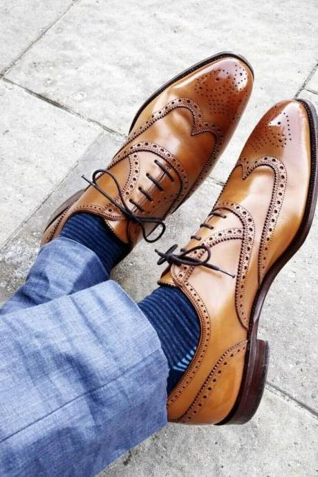 Men's Handmade Tan Leather Lace up Brogue Dress Shoes, Men Brown Shoes
