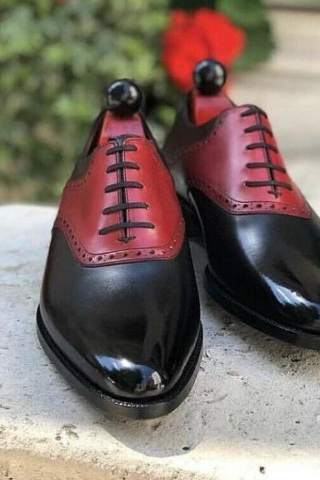 Men's Handmade Red & Black Leather Lace up Brogue Dress Shoes, Men Shoes
