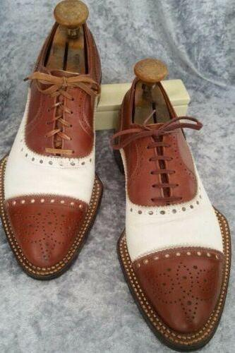 Men's Handmade Dark Tan & White Leather Lace up Brogue Shoes, Men Shoes