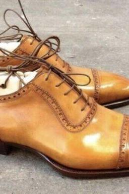 Men's Handmade Tan Leather Lace up Brogue Shoes, Men Shoes