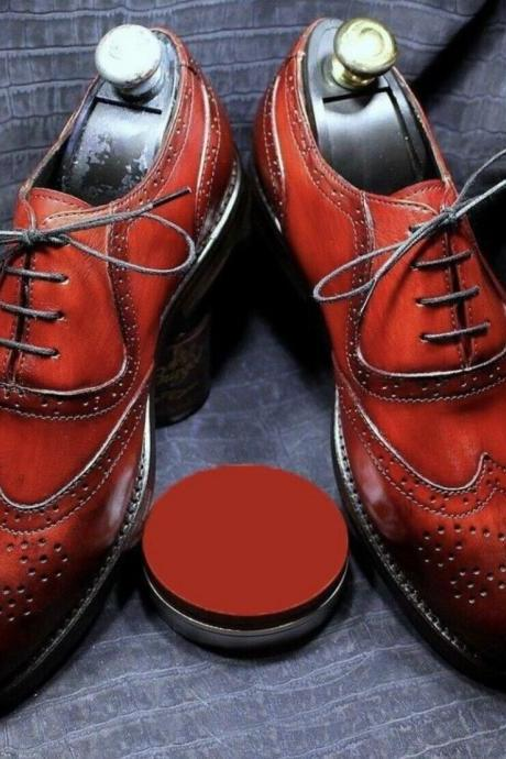 Men's Handmade Red Shaded Leather Lace up Brogue Shoes.