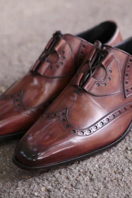 Men's Handmade Dark Tan Shaded Leather Lace up Brogue Shoes