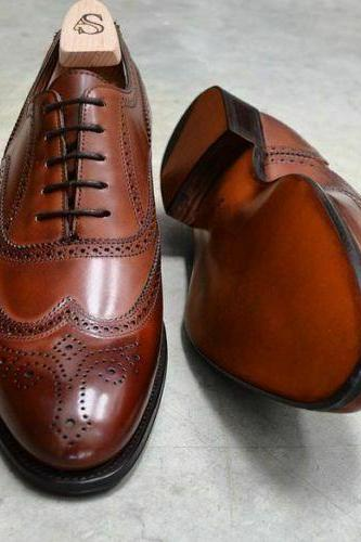 Men's Handmade Brogue wingtip shoes, Men dress Brown Lace up shoes