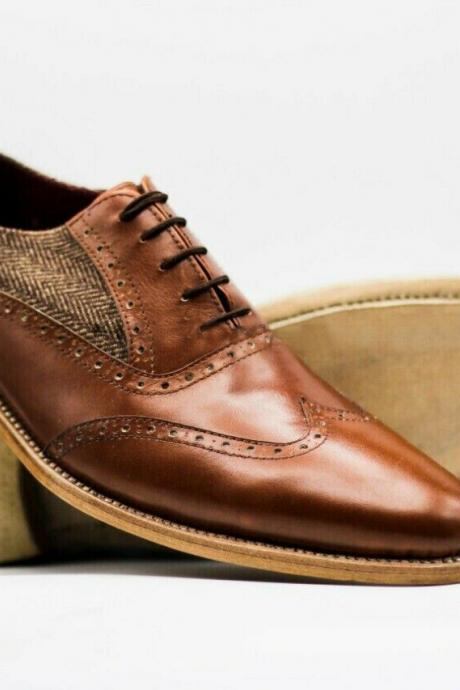 Men's Handmade Shoes Brown Leather & Fabric Oxford Brogue Wingtip Lace Up Boots