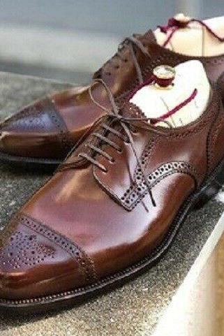 Men's Handmade Leather Lace Up Stylish Shoes, Men Brown Cap Toe Brogue Stylish