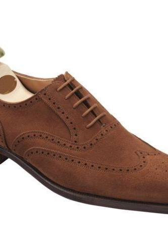 Men's Leather Brown Oxford Brogue Suede Leather Shoes, Men Dress Formal Shoes