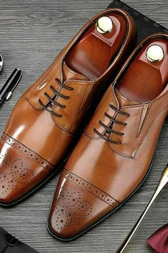 Men's Handmade Shoes Tan Leather Oxford, Men Brogue Toe Cap Lace-Up Derby Formal Boots