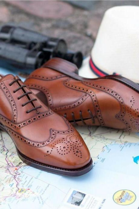 Men's Handmade Tan Brogue Wing Tip Lace Up Formal Dress, Men Custom Made Leather Shoes
