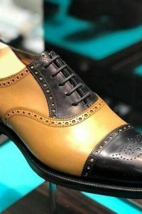 Men's Handmade Black & Tan Leather Cap Toe Brogue Lace Up Dress Shoes