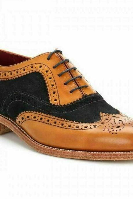 Men's Handmade Shoes Tan Leather Black Suede, Men Two Tone Wingtip Brogue Oxford Boots