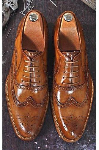 Men's Leather Brown Oxford Brogue Leather Shoes, Men Dress Formal Customized