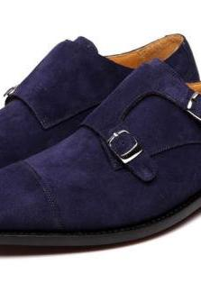 Men's Handmade Double Monk Suede Leather Shoes, Men Navy Suede Shoes Dress Shoes