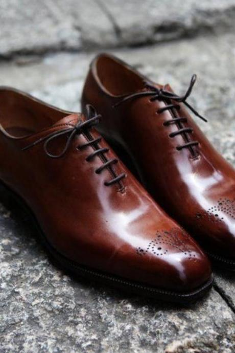 Handmade Men Brogue Shoes, Men Classic Brown Leather Dressing Shoes