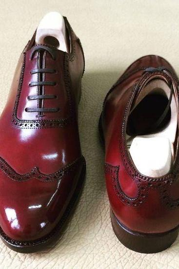 Handmade Men Casual Dress Genuine Leather Maroon Wing Tip Rounded Toe Lace Up Oxford Shoes