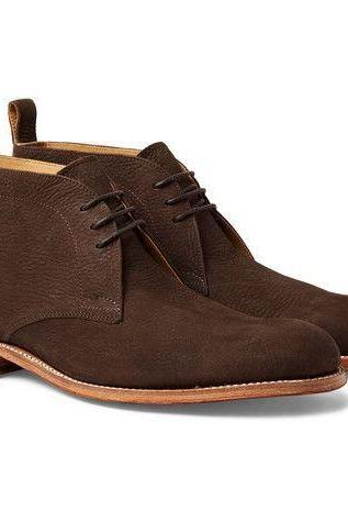 Handmade Men Brown Chukka Plain Rounded Toe Natural Color Sole Genuine Leather Lace up Boots