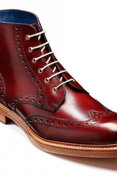 Handmade Men Burgundy Burnished Derby Toe Wing Tip Leather Natural Color Sole Ankle Boots