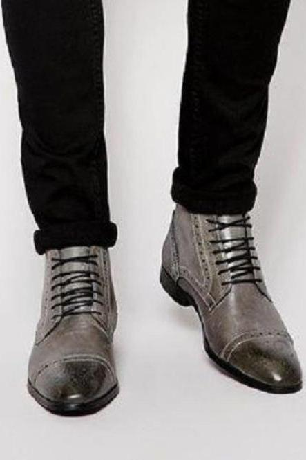 Handmade Men Gray Leather Brogue Ankle High Boots, Men Lace Up Leather Boots