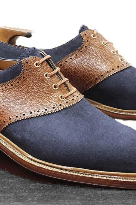 Handmade Men Oxford Two Tone Shoes Casual Jeans Wear Outerwear Suede Shoes