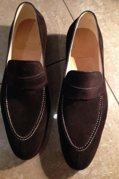 Handmade Men tan tassel loafers, Spring casual Men suede shoes
