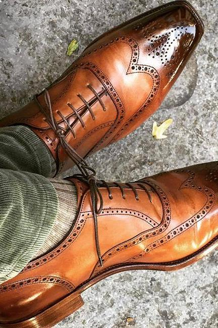 Handmade Men Oxford Wing Toe Two Tone Brogues, Dress Formal Shoes For Men